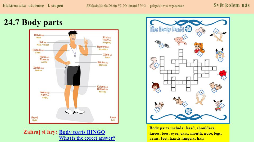 24.7 Body parts Zahraj si hry: Body parts BINGO