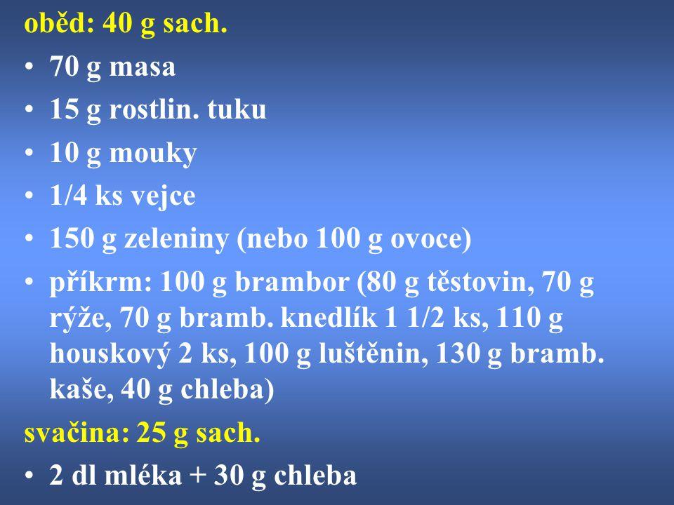 oběd: 40 g sach. 70 g masa. 15 g rostlin. tuku. 10 g mouky. 1/4 ks vejce. 150 g zeleniny (nebo 100 g ovoce)