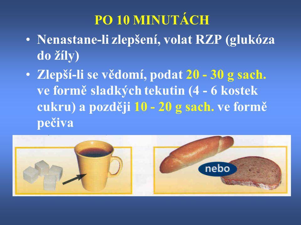 PO 10 MINUTÁCH Nenastane-li zlepšení, volat RZP (glukóza do žíly)