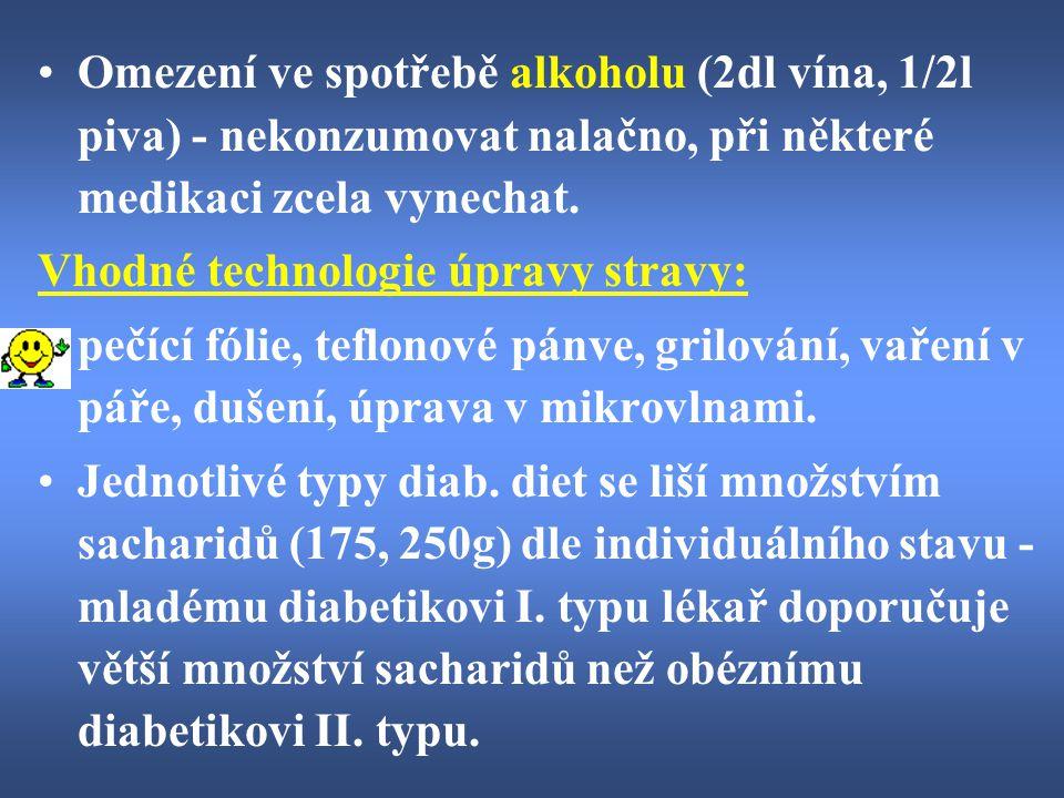 Omezení ve spotřebě alkoholu (2dl vína, 1/2l piva) - nekonzumovat nalačno, při některé medikaci zcela vynechat.