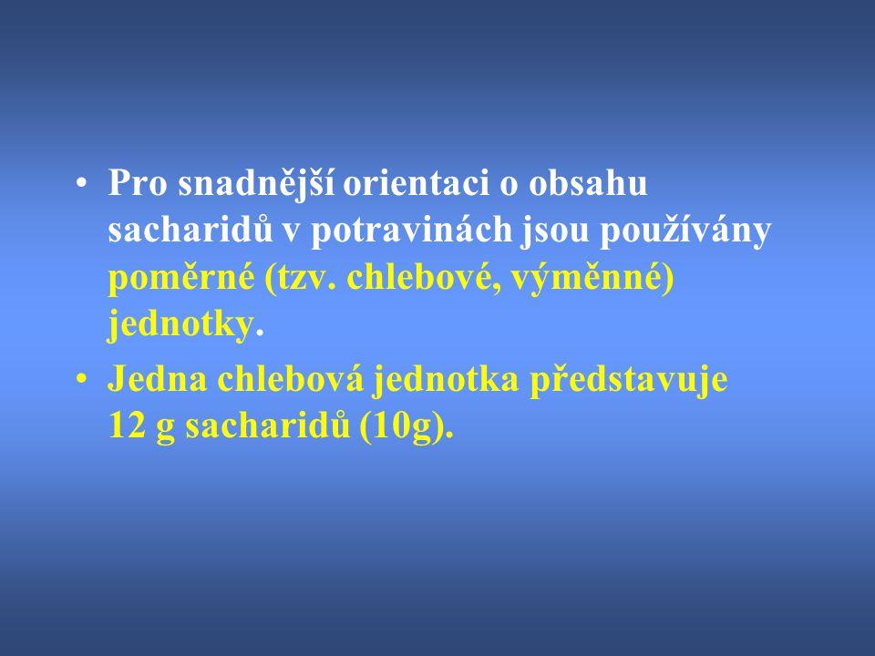 Pro snadnější orientaci o obsahu sacharidů v potravinách jsou používány poměrné (tzv. chlebové, výměnné) jednotky.