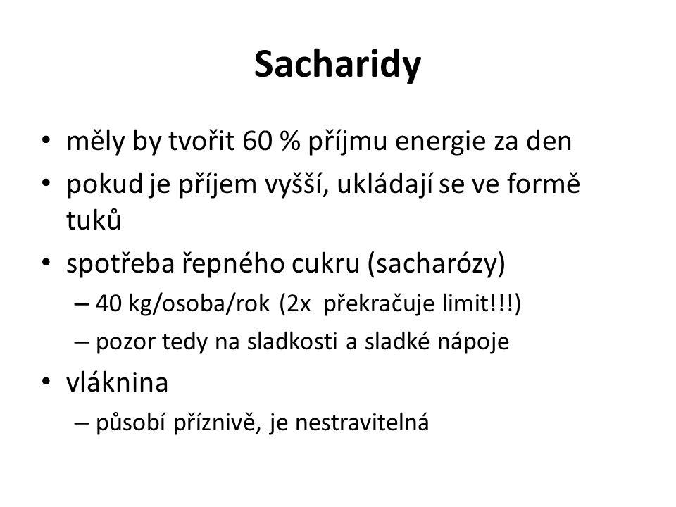 Sacharidy měly by tvořit 60 % příjmu energie za den
