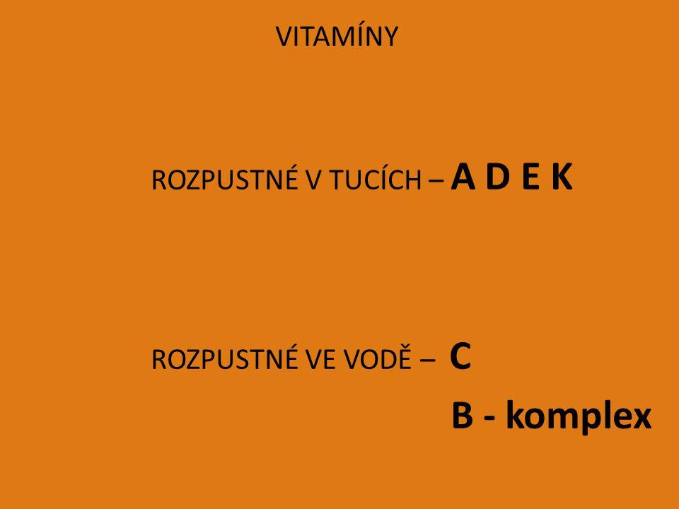 ROZPUSTNÉ VE VODĚ – C B - komplex VITAMÍNY