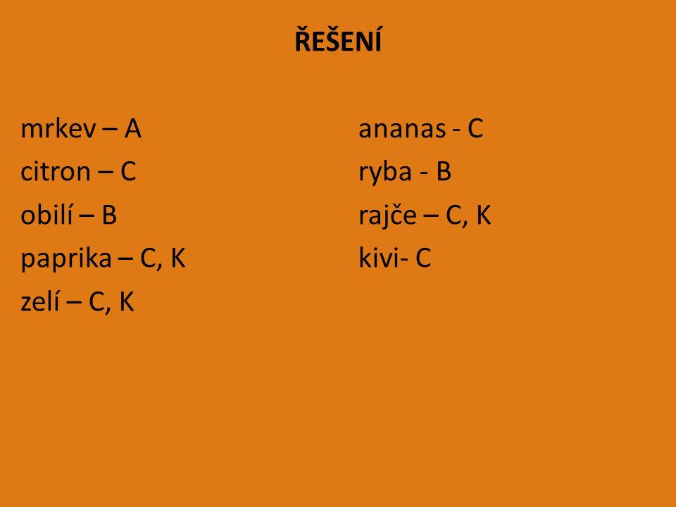 ŘEŠENÍ mrkev – A ananas - C citron – C ryba - B obilí – B rajče – C, K paprika – C, K kivi- C zelí – C, K
