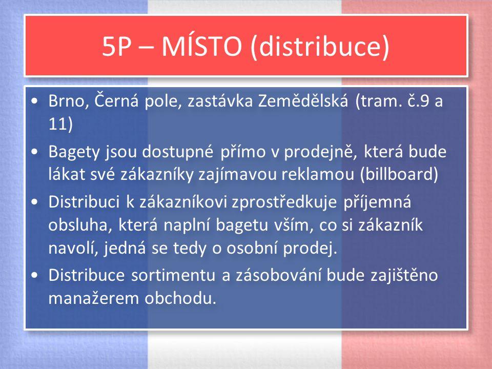 5P – MÍSTO (distribuce) Brno, Černá pole, zastávka Zemědělská (tram. č.9 a 11)