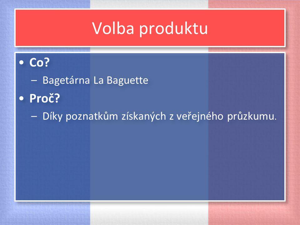 Volba produktu Co Proč Bagetárna La Baguette