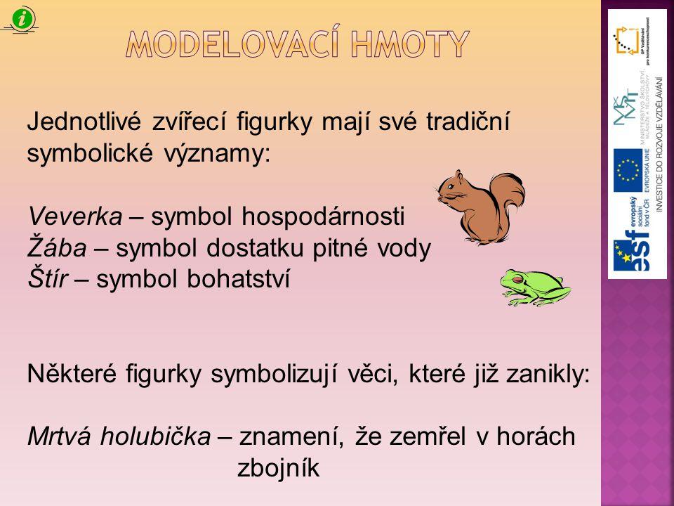Modelovací hmoty Jednotlivé zvířecí figurky mají své tradiční symbolické významy: Veverka – symbol hospodárnosti.