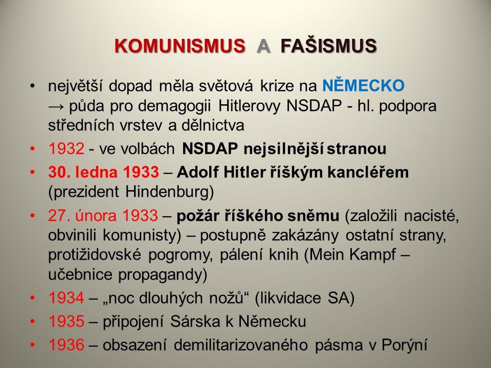 KOMUNISMUS A FAŠISMUS největší dopad měla světová krize na NĚMECKO → půda pro demagogii Hitlerovy NSDAP - hl. podpora středních vrstev a dělnictva.