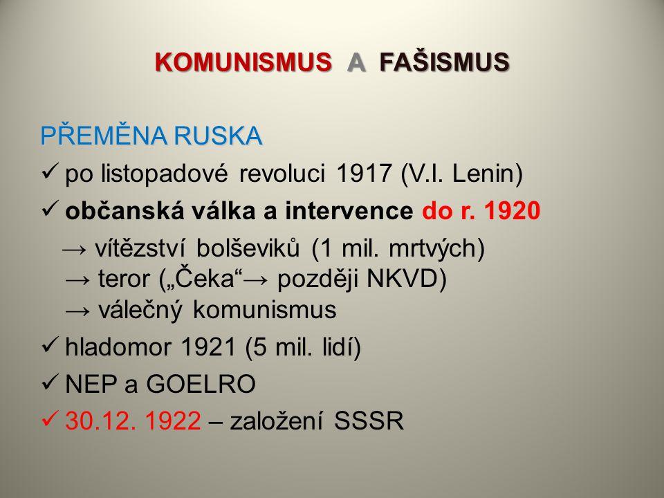 KOMUNISMUS A FAŠISMUS PŘEMĚNA RUSKA. po listopadové revoluci 1917 (V.I. Lenin) občanská válka a intervence do r. 1920.