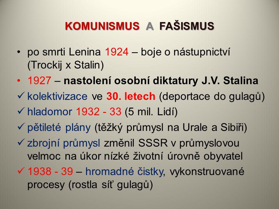 KOMUNISMUS A FAŠISMUS po smrti Lenina 1924 – boje o nástupnictví (Trockij x Stalin) 1927 – nastolení osobní diktatury J.V. Stalina.