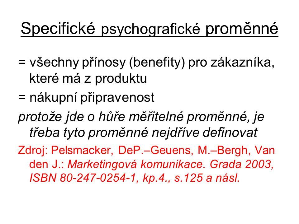 Specifické psychografické proměnné