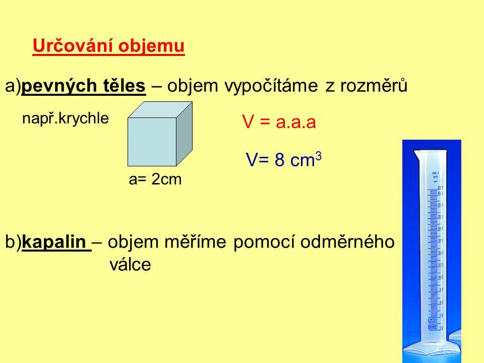 a)pevných těles – objem vypočítáme z rozměrů