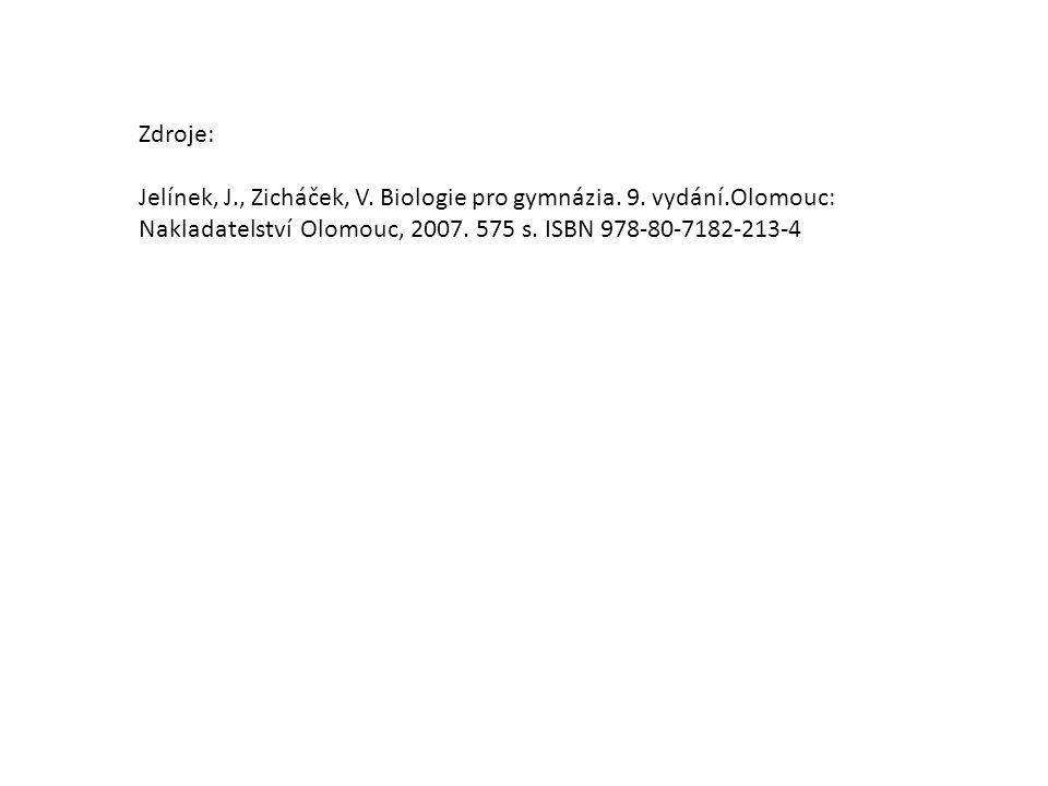 Zdroje: Jelínek, J., Zicháček, V. Biologie pro gymnázia.