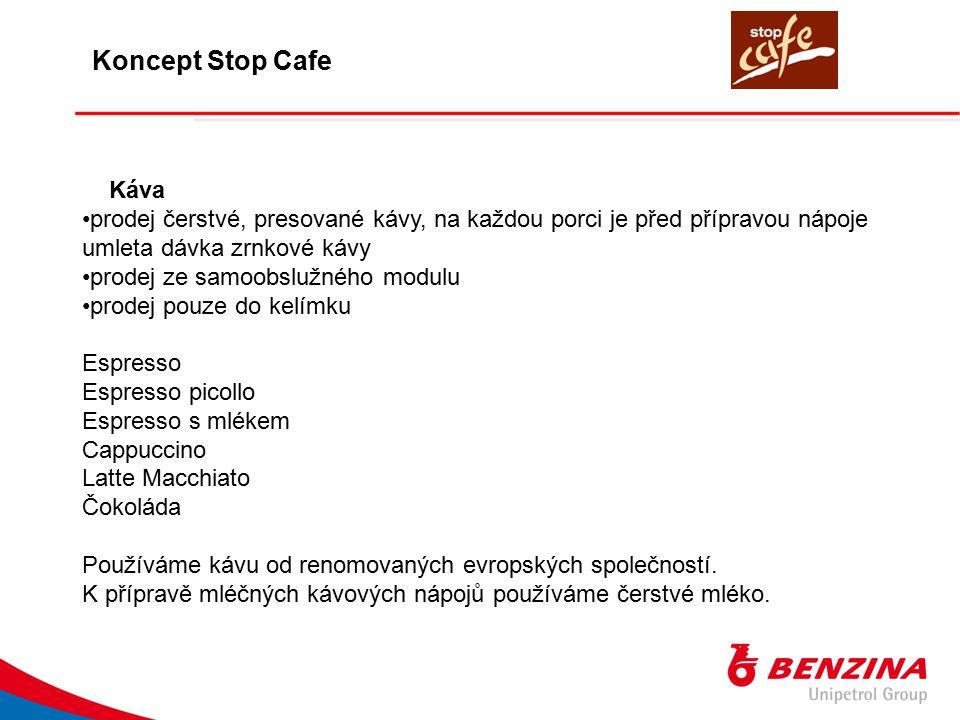 Koncept Stop Cafe Káva. prodej čerstvé, presované kávy, na každou porci je před přípravou nápoje umleta dávka zrnkové kávy.