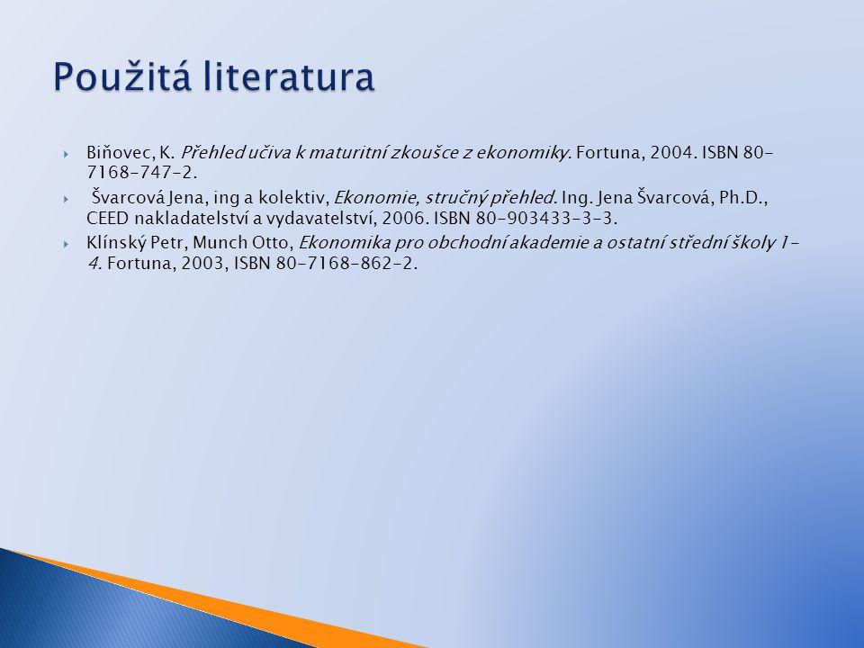 Použitá literatura Biňovec, K. Přehled učiva k maturitní zkoušce z ekonomiky. Fortuna, 2004. ISBN 80- 7168-747-2.