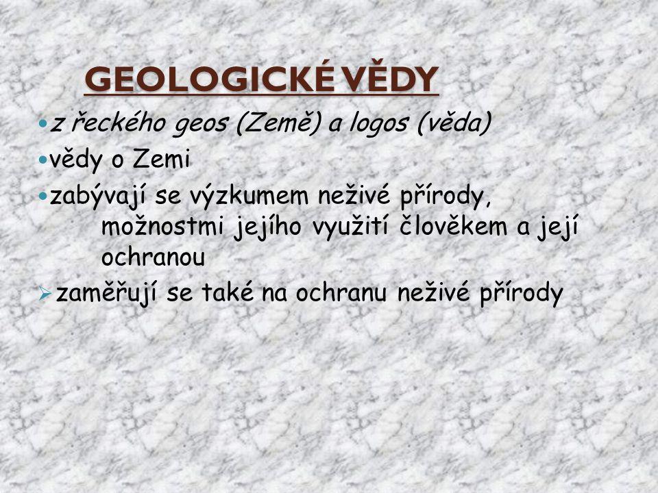 GEOLOGICKÉ VĚDY z řeckého geos (Země) a logos (věda) vědy o Zemi