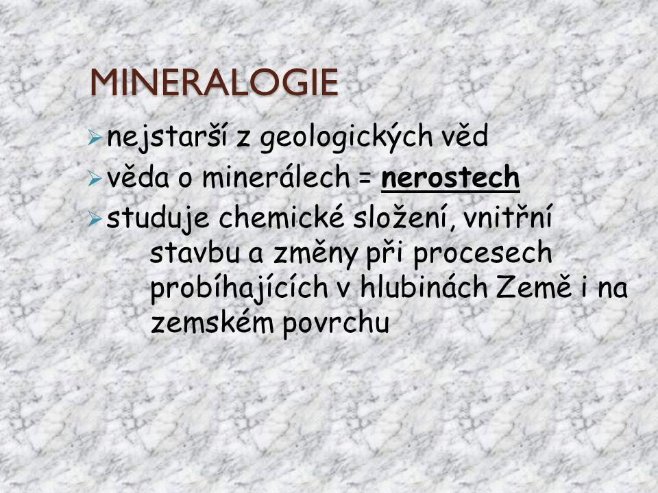 MINERALOGIE nejstarší z geologických věd věda o minerálech = nerostech