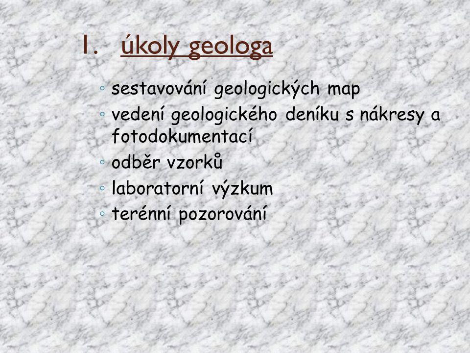 úkoly geologa sestavování geologických map