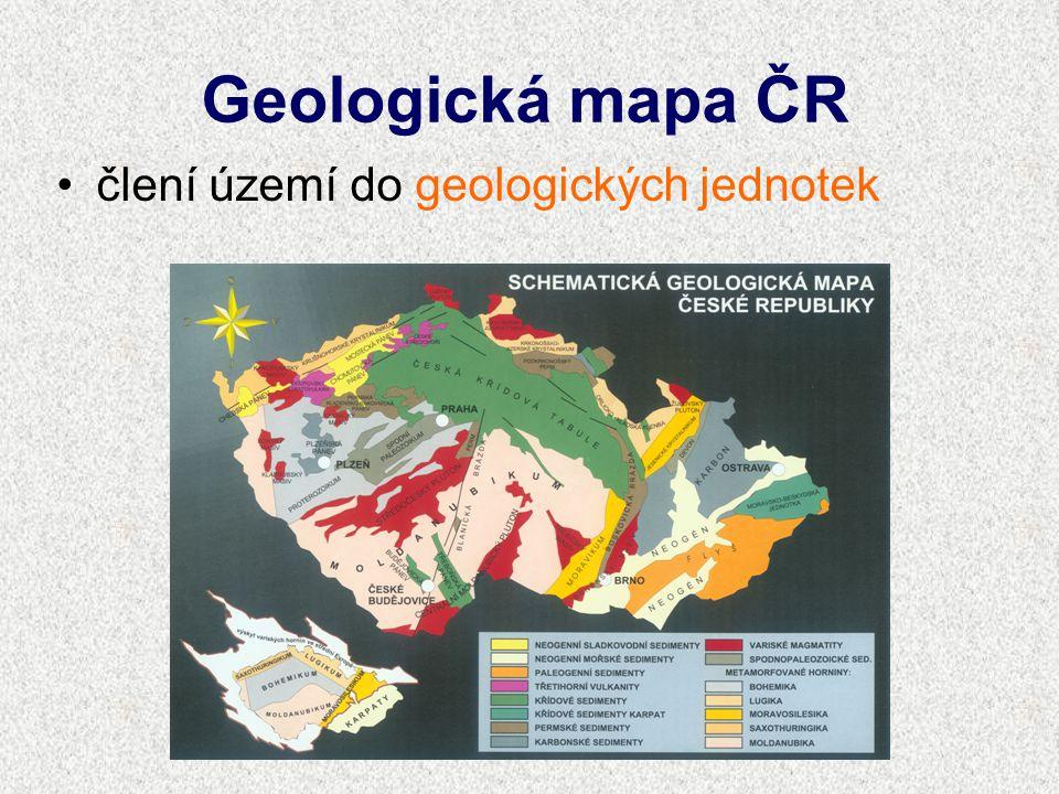 Geologická mapa ČR člení území do geologických jednotek
