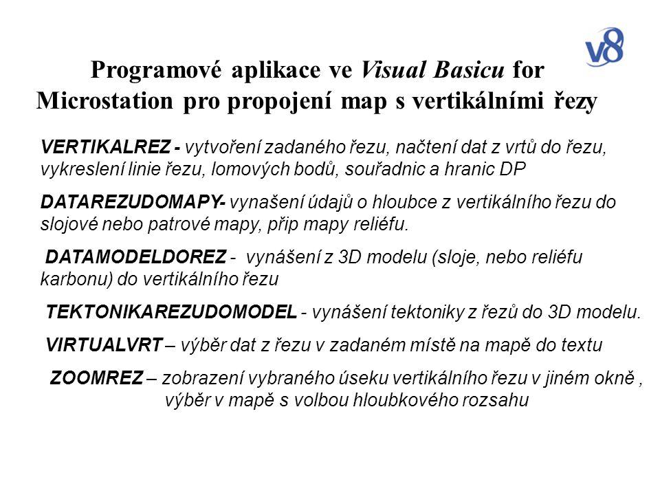 Programové aplikace ve Visual Basicu for Microstation pro propojení map s vertikálními řezy