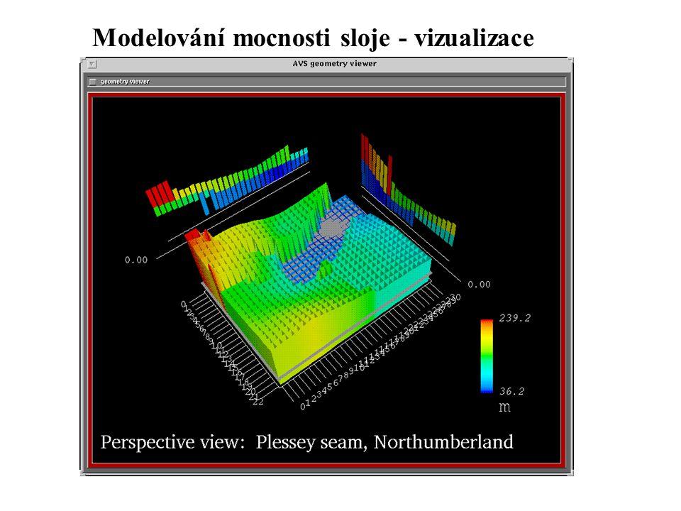 Modelování mocnosti sloje - vizualizace