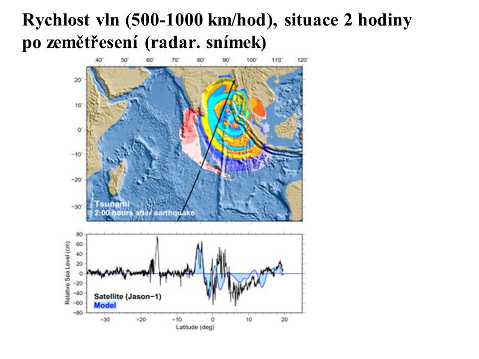 Rychlost vln (500-1000 km/hod), situace 2 hodiny po zemětřesení (radar