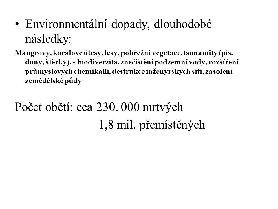 Environmentální dopady, dlouhodobé následky: