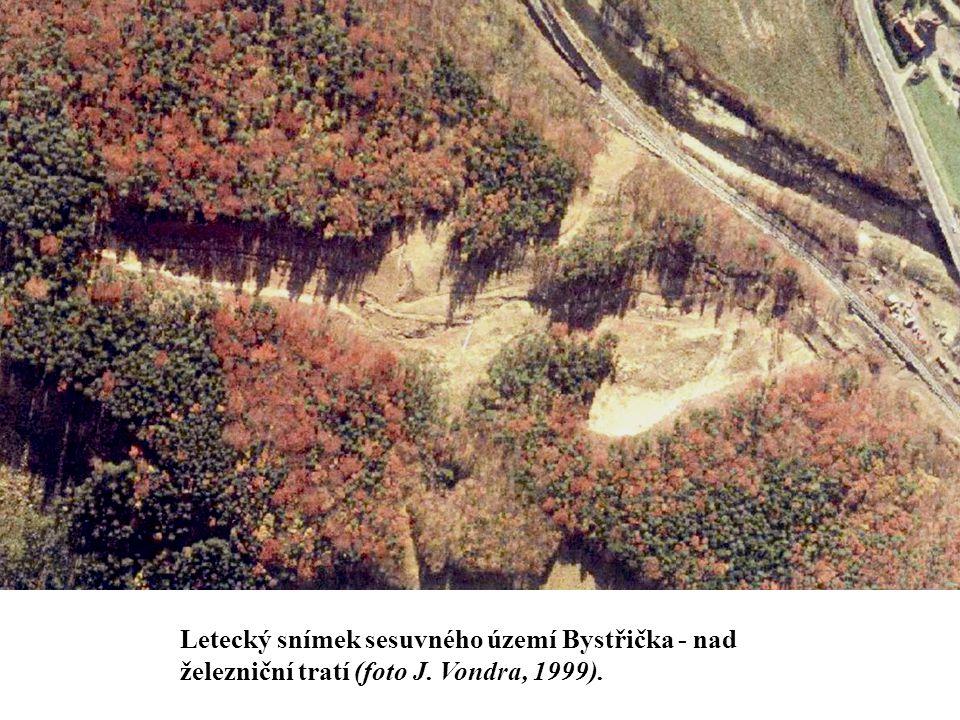 Letecký snímek sesuvného území Bystřička - nad železniční tratí (foto J. Vondra, 1999).