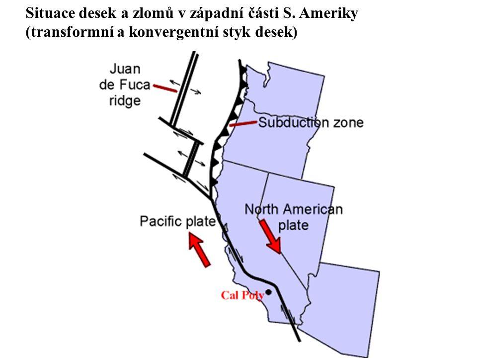 Situace desek a zlomů v západní části S. Ameriky