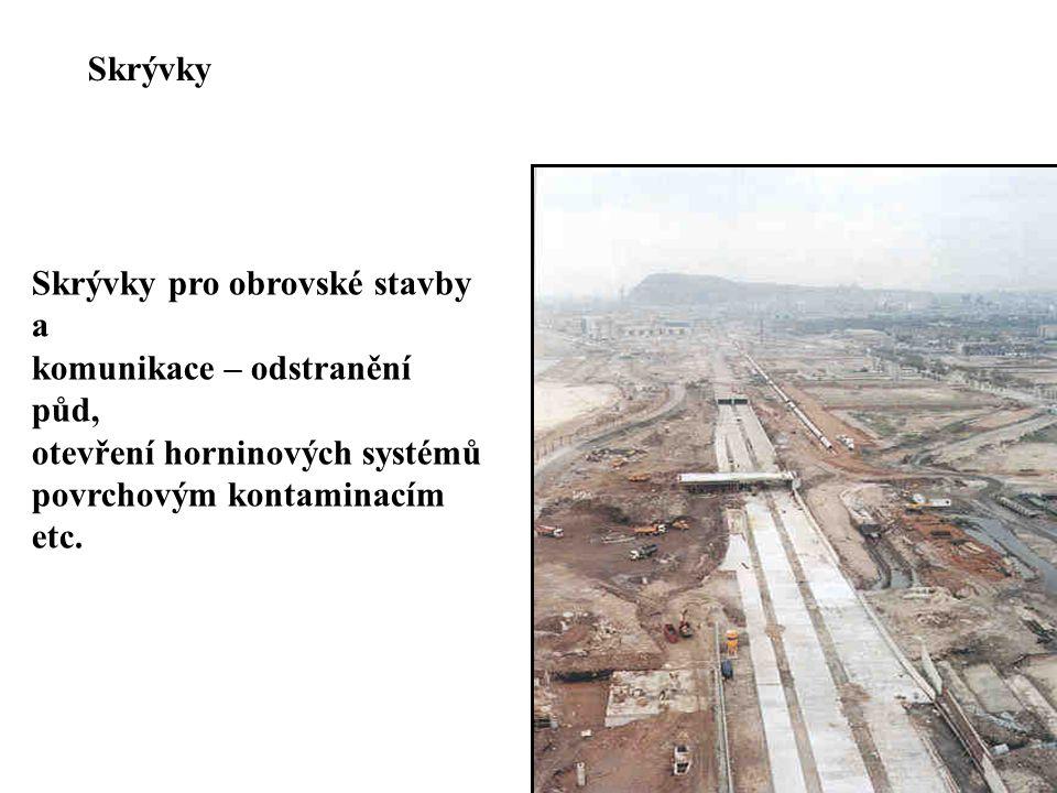 Skrývky Skrývky pro obrovské stavby a. komunikace – odstranění půd, otevření horninových systémů.