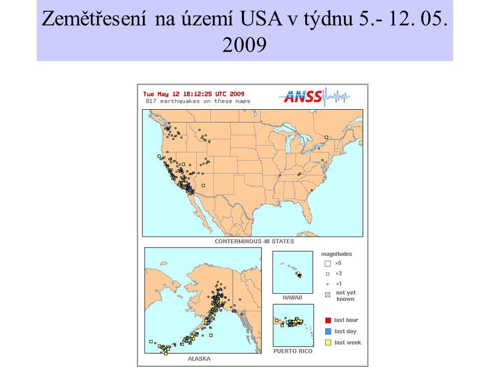 Zemětřesení na území USA v týdnu 5.- 12. 05. 2009