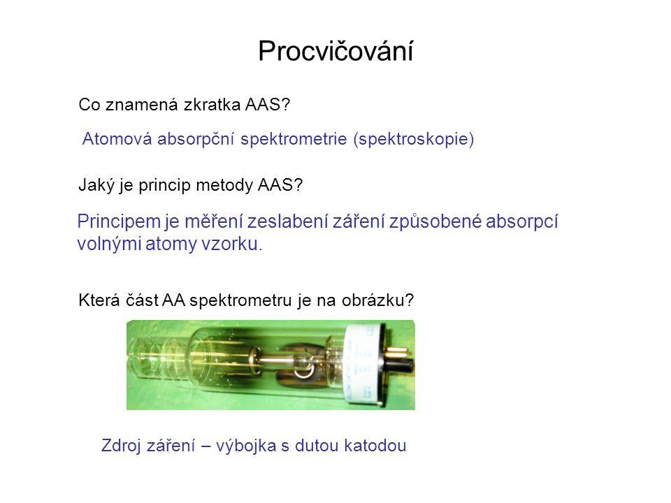 Procvičování Co znamená zkratka AAS Atomová absorpční spektrometrie (spektroskopie) Jaký je princip metody AAS