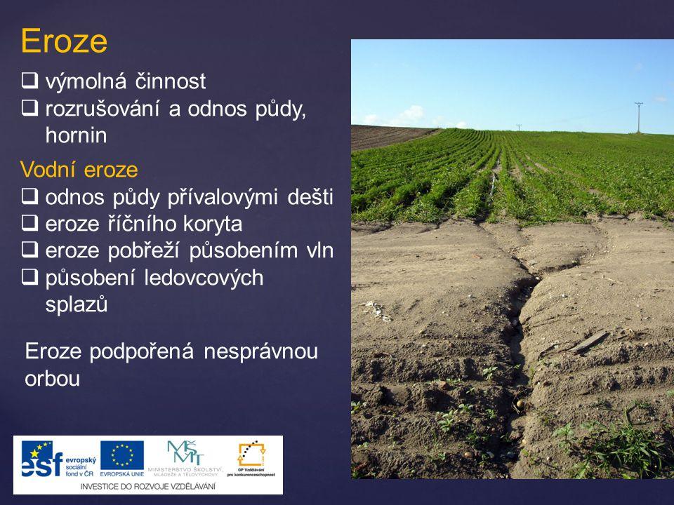 Eroze výmolná činnost rozrušování a odnos půdy, hornin Vodní eroze