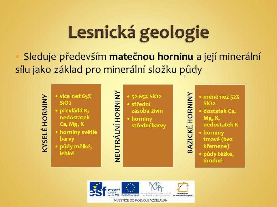 Lesnická geologie Sleduje především matečnou horninu a její minerální sílu jako základ pro minerální složku půdy.