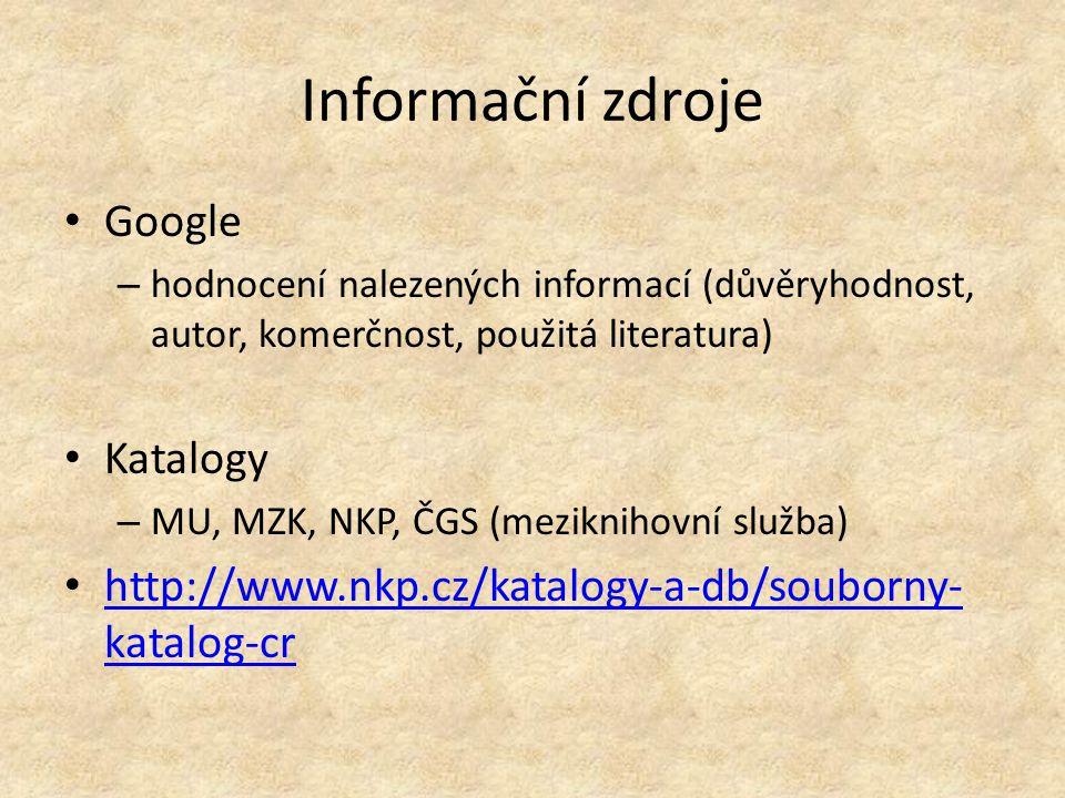 Informační zdroje Google Katalogy