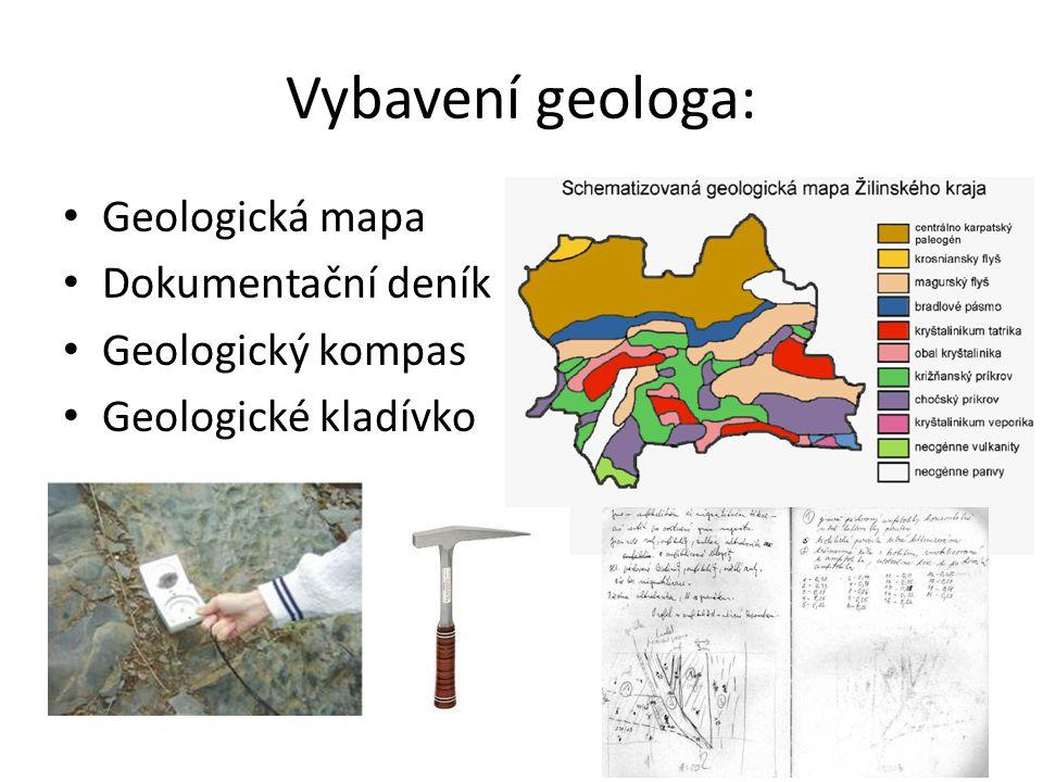 Vybavení geologa: Geologická mapa Dokumentační deník Geologický kompas