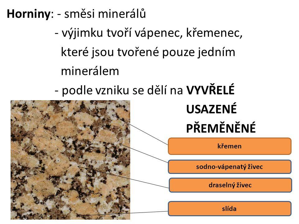 Horniny: - směsi minerálů - výjimku tvoří vápenec, křemenec, které jsou tvořené pouze jedním minerálem - podle vzniku se dělí na VYVŘELÉ USAZENÉ PŘEMĚNĚNÉ