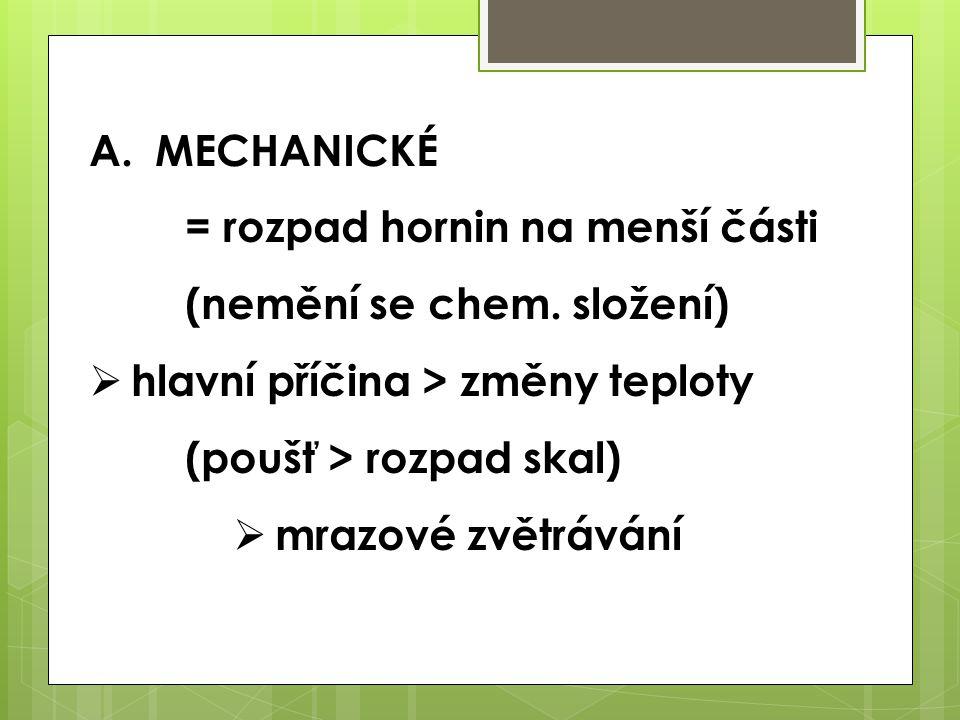 MECHANICKÉ = rozpad hornin na menší části (nemění se chem. složení)