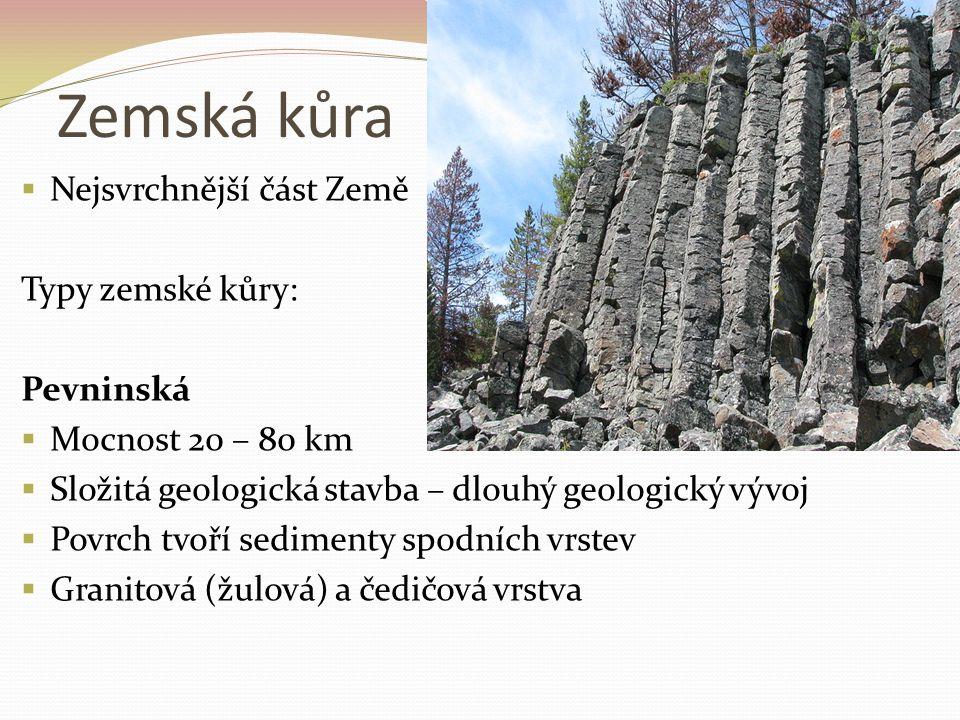 Zemská kůra Nejsvrchnější část Země Typy zemské kůry: Pevninská