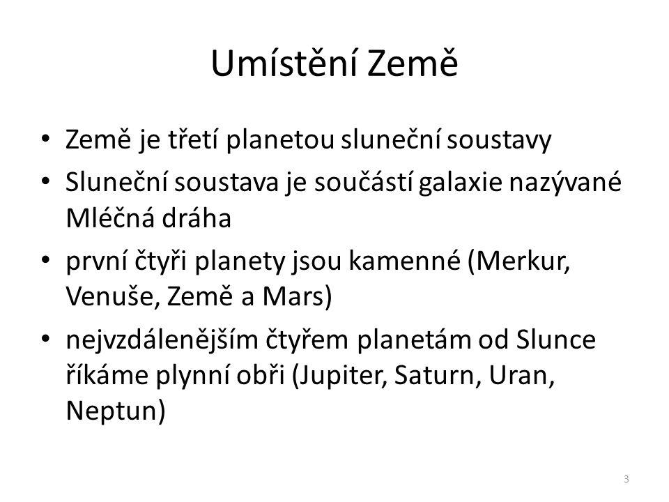 Umístění Země Země je třetí planetou sluneční soustavy