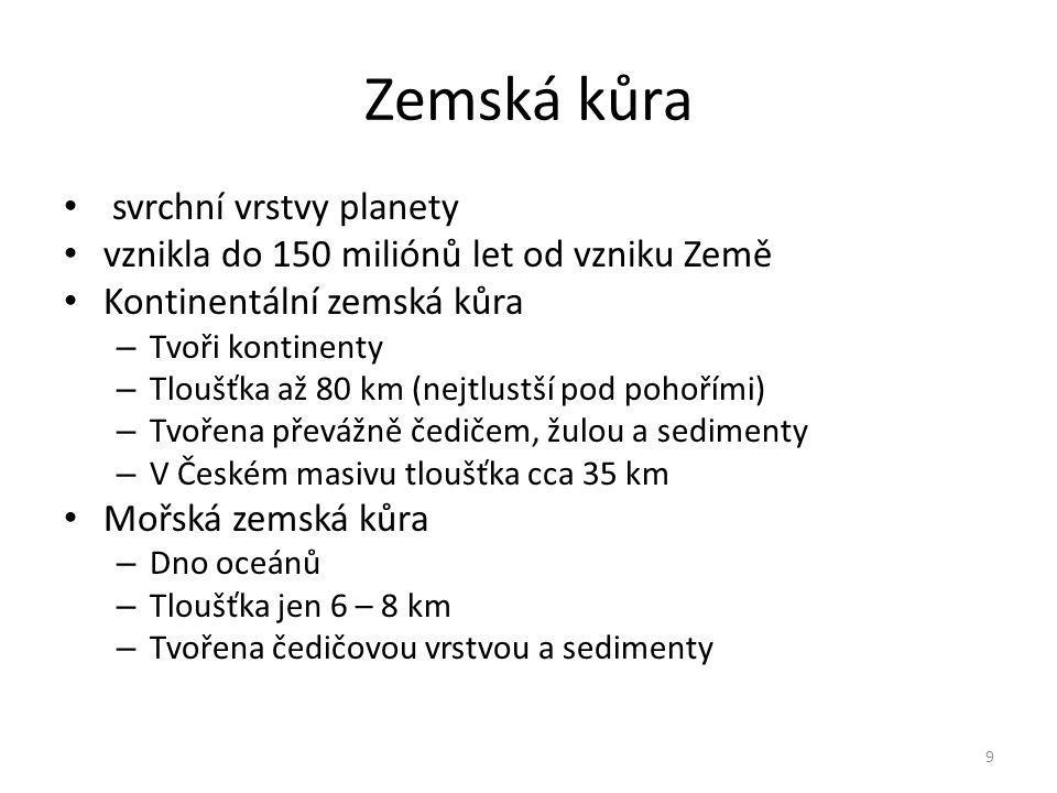 Zemská kůra svrchní vrstvy planety