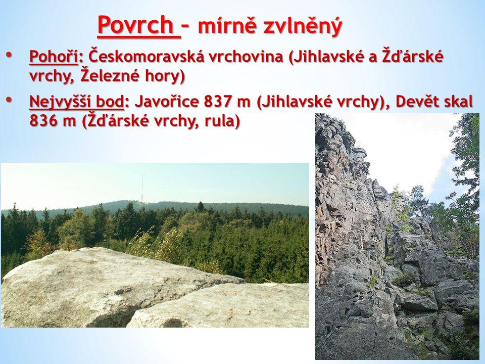 Povrch – mírně zvlněný Pohoří: Českomoravská vrchovina (Jihlavské a Žďárské vrchy, Železné hory)