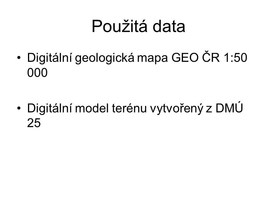 Použitá data Digitální geologická mapa GEO ČR 1:50 000