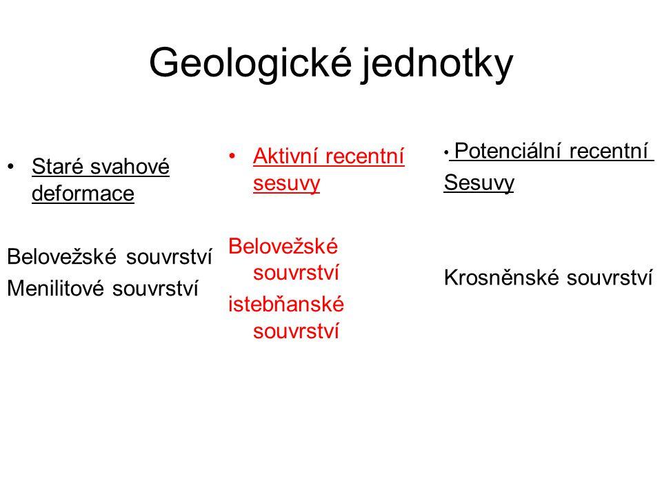 Geologické jednotky Aktivní recentní sesuvy Sesuvy