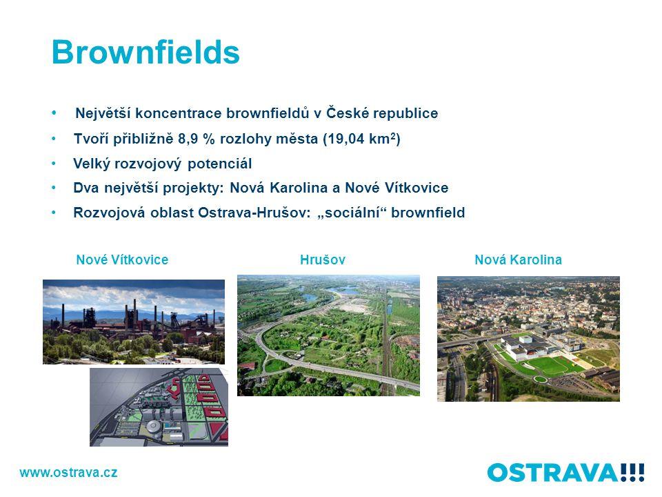 Brownfields Největší koncentrace brownfieldů v České republice
