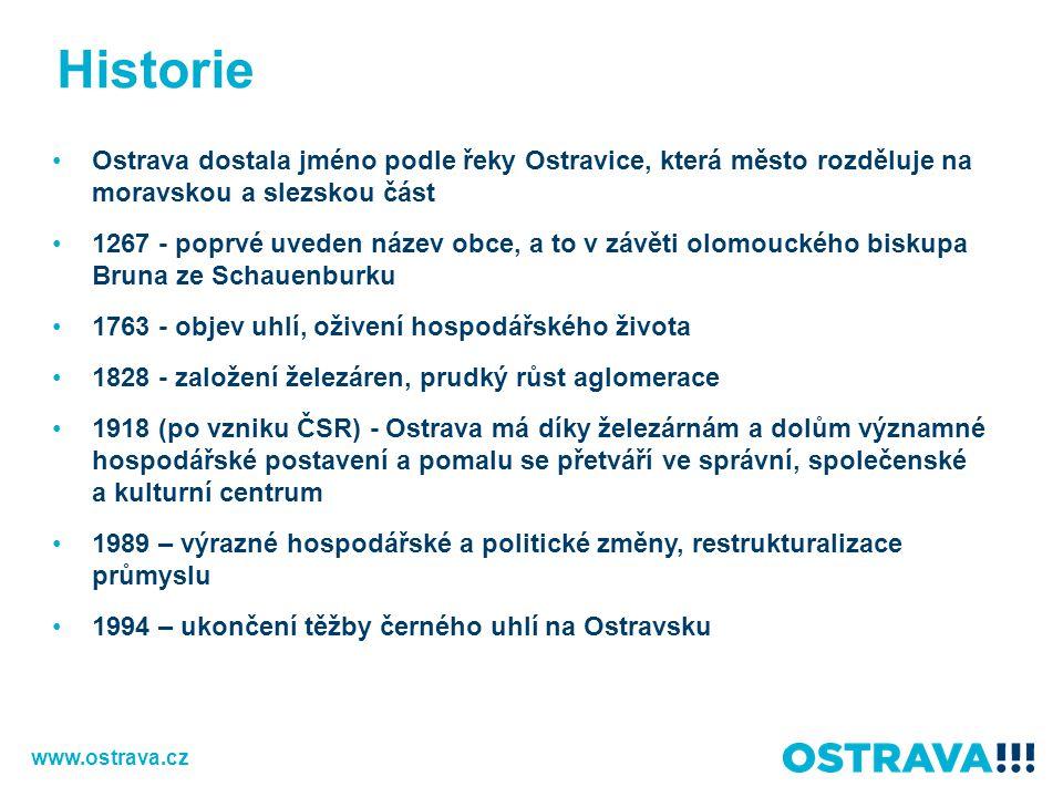 Historie Ostrava dostala jméno podle řeky Ostravice, která město rozděluje na moravskou a slezskou část.