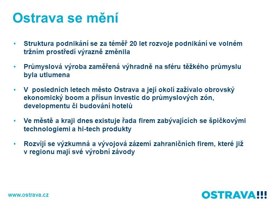 Ostrava se mění Struktura podnikání se za téměř 20 let rozvoje podnikání ve volném tržním prostředí výrazně změnila.