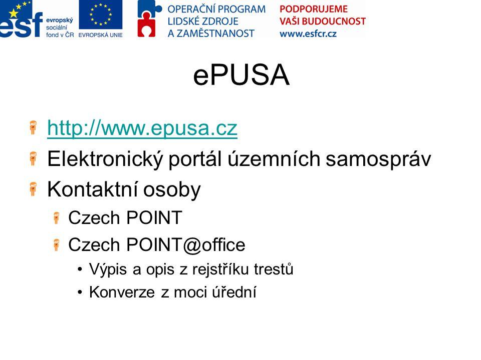 ePUSA http://www.epusa.cz Elektronický portál územních samospráv