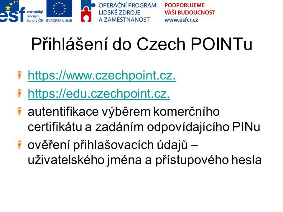 Přihlášení do Czech POINTu