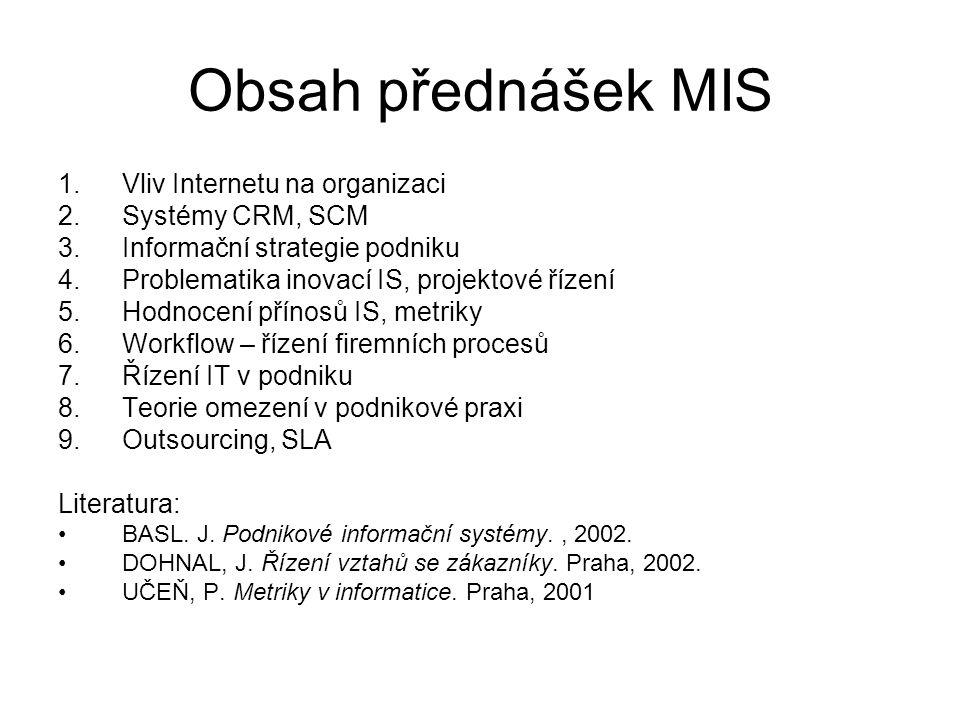 Obsah přednášek MIS Vliv Internetu na organizaci Systémy CRM, SCM